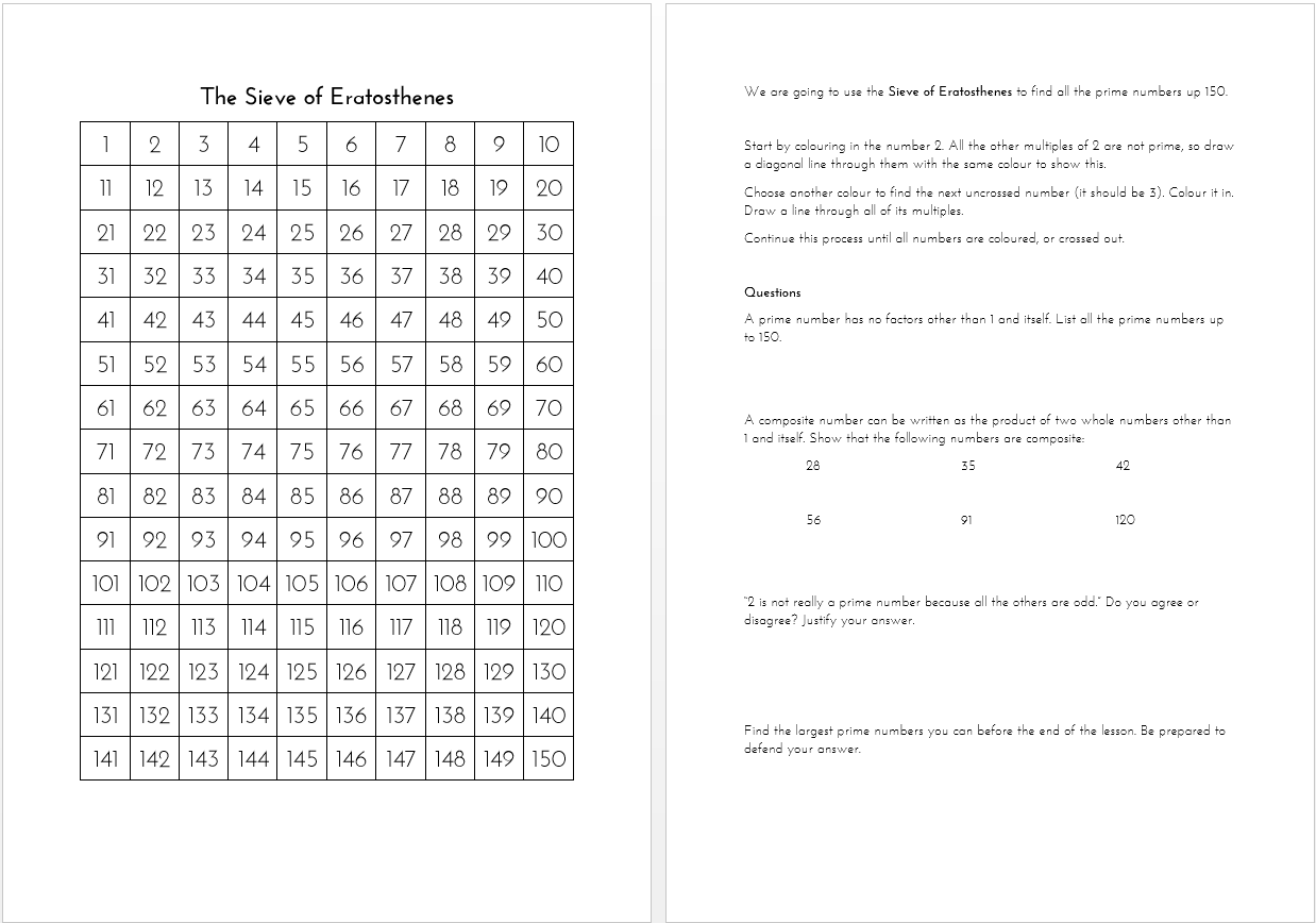 Sieve Of Eratosthenes Worksheet The Prime Factorisation Of Me